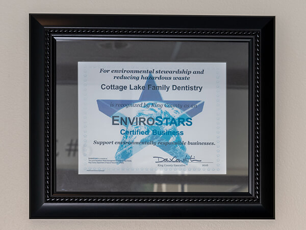 "The ""EnviroStars Certified Business"" office award"
